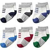 Carter's Baby-Boys Newborn Sneaker Socks, Multi, 3-12/Medium Months (Pack of 6)
