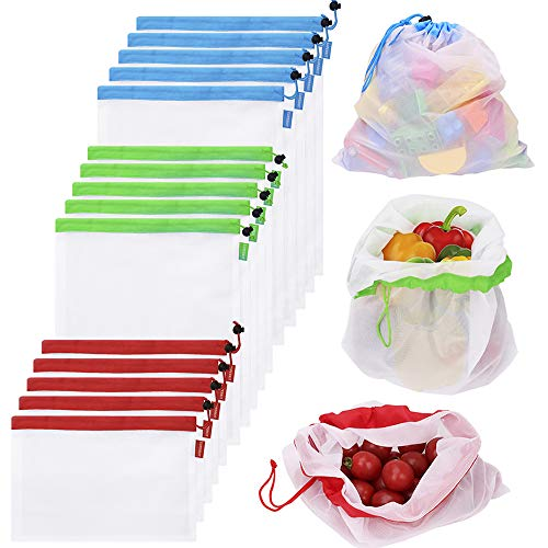 Reusable Produce Bags 15PCS Mesh Bags for Vegetables Eco Friendly Net Bags for Grocery Shopping & Storage Bags of Fruit Vegetables Machine Washable Mesh Produce Bags - Outer Bag Dump