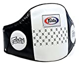 Fairtex BPV1 Pro Leather Belly Pad Muay Thai Trainers Protective Guard Thai Boxing MMA Kickboxing Gear Black-White