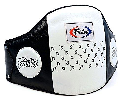 Fairtex BPV1 Pro Leather Belly Pad Muay Thai Trainers Protective Guard Thai Boxing MMA Kickboxing Gear Black-White by Fairtex