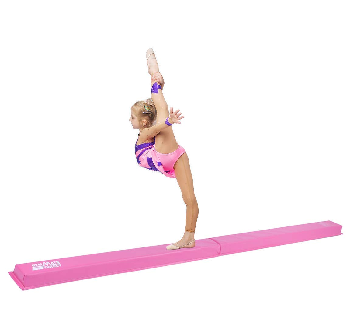 Gymnastics Beam for Kids, 9' Folding Floor Balance Beam for Home Practice, Pink