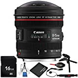 Canon EF 8-15mm f/4L Fisheye USM Lens 8PC Accessory Bundle – Includes 16GB SD Memory Card + Lens Cleaning Pen + Lens Cap Keeper + MORE