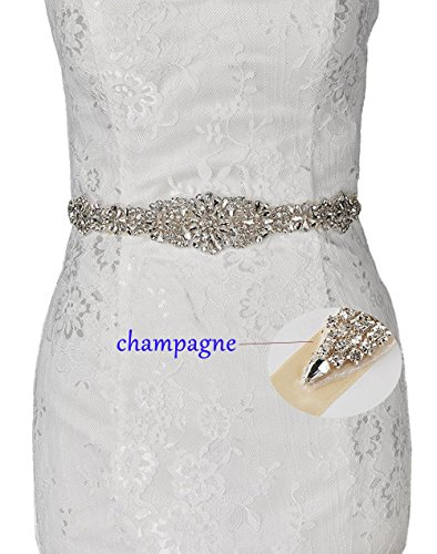 Sash Any Color (Idepy Women's Wedding Belts Beadings Crystal Rhinestones Bridal Sash for Formal Evening Cocktail Prom Party Dress Champagne)