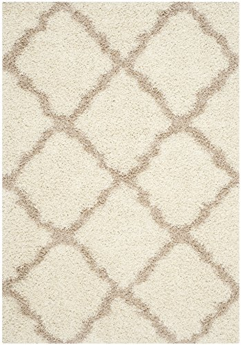 Safavieh Dallas Shag Collection SGD257B Ivory and Beige Area Rug, 6 feet by 9 feet (6' x 9')