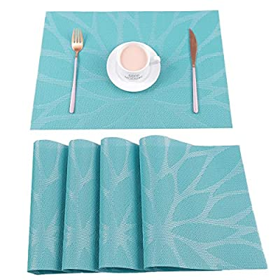 HEBE Placemats Set of 4 Heat Resistant Placemat for Dining Table Indoor Outdoor Washable Crossweave Woven Vinyl Kitchen Table Mats(4, Blue) - Protect your table from scratches and stains ,liquid can go through placemats ,clean it when finished.Non-fading,Non-stain,Not mildew,Wipe Clean. Perfect addition to your dinner table,beautiful stylish modern placemats to add more fun to your kitchen table. Washable and Easy to clean:Hand wash in warm soapy water and wipe dry;if there is stains stuch in the placemat,use a brush and soapy water to clean it .No machine wash. - placemats, kitchen-dining-room-table-linens, kitchen-dining-room - 51WCC yd2gL. SS400  -