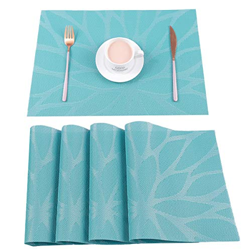 HEBE Placemats Set of 4 Heat Resistant Placemat for Dining Table Indoor Outdoor Washable Crossweave Woven Vinyl Kitchen Table Mats(4, Blue) (Summer Placemats)