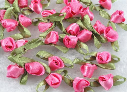 100 Pcs Polyester Tape with Ye Han Bud Rose/trim/sewing/appliques U Pick (Watermelon Red)