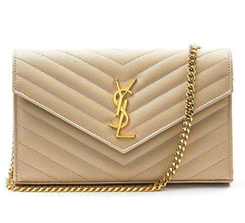Wiberlux Saint Laurent Women's Gold Logo Detail Quilted Envelope Flap Bag One Size - Laurent Saint Designer