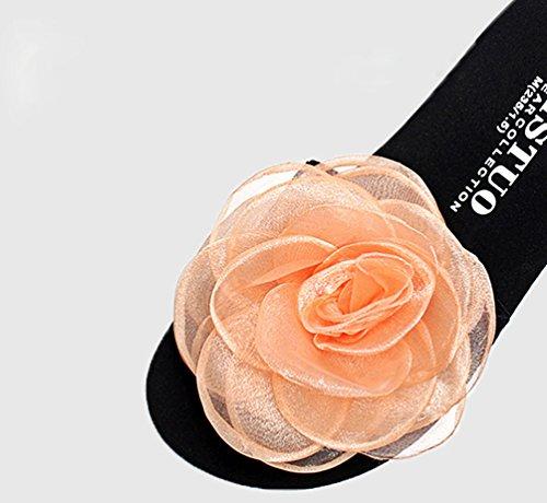 YOUJIA Mujer Boho Flores Zapatillas Verano Playa Plataforma Zapatos de cuña Chanclas #2 Naranja