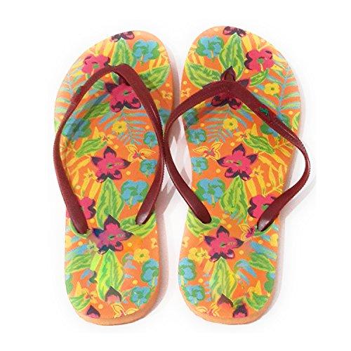 Playa para Correa Alta Chanclas Calidad Naranja Tropical Estampadas BRANDELIA y Piscina Suaves de y Resistentes Suela Burdeos Colores Diferentes y Mujer Chanclas Modelos Ducha de XwX8gqt