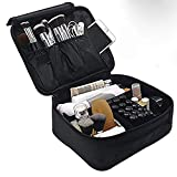 Lmeison Travel Makeup Train Case Organizer for Women, 9.6'' Portable Cosmetic Storage Bag with Adjustable Dividers, for Cosmetics, Makeup Brush Set, Jewelry, Toiletry and Digital Accessories
