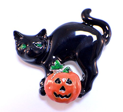 Halloween Black Cat and Jack-O-Lanter Pin Brooch Scarf Clips Corsage Jewelry for Lady Broach -