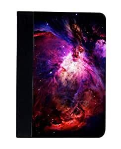 Case Fun Apple iPad Air (i9500) Faux Leather Wallet Case - Purple and Red Fire Nebula
