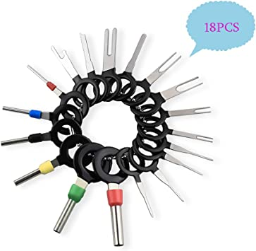 Car Electrical Wiring Crimp Connector Extractor Puller Release Pin Kit 11 Pieces kweiny Auto Terminals Removal Key Tool Set
