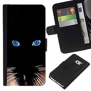 All Phone Most Case / Oferta Especial Cáscara Funda de cuero Monedero Cubierta de proteccion Caso / Wallet Case for Samsung Galaxy S6 EDGE // Black Siamese Cat Whiskers Eyes