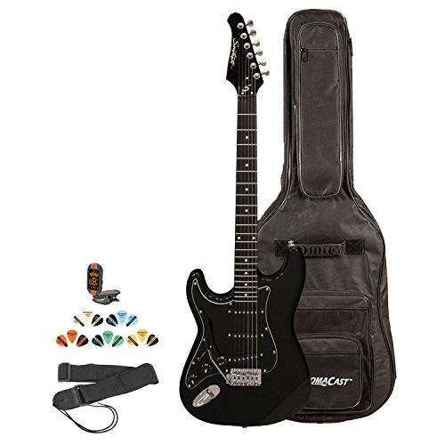 Sawtooth ST-ES-LH-BKB-KIT-2 Left Handed ST Style Electric Guitar in Black with Black Pickguard, Lesson, Gig Bag, Picks, Tuner and Strap