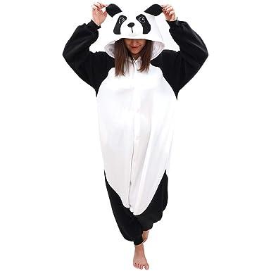 4ab02bf97e Amazon.com  Adult Panda Onesie Animal Pajamas-Plush One Piece Halloween  Cosplay Costume  Clothing