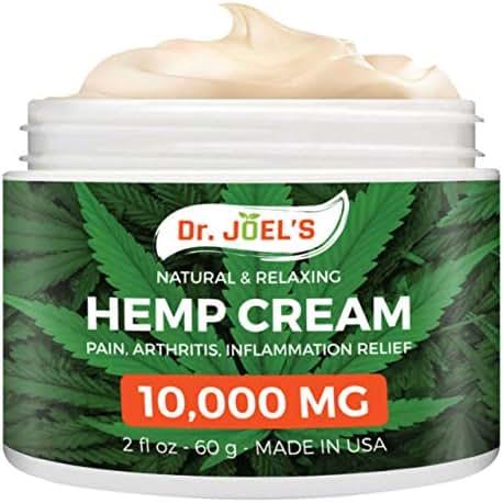 Dr JOELS Premium Hemp Cream for Pain Relief - Maximum Strength, 10000 MG - Fast Relief from Pain, Ache, Arthritis & Inflammation
