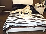 DINY Home & Style Heavy Plush Soft Mink Velvet Fleece Blanket Horse Print Queen Size Bed Blanket 80'' x 95''