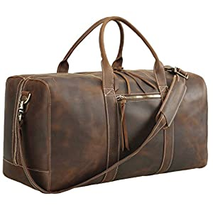 Polare Leather Duffle Weekend Travel Bag For Men