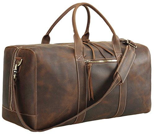 Leather Weekender - Polare Mens Genuine Leather Duffel Bag Overnight Travel Duffle Weekender Bag 22.8''