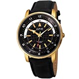 August Steiner Genuine Leather Men's Watch - Soft and Rugged Black Nubuck Leather Strap, Printed Globe Dial with 24 Hour...