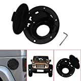 Jade Black Aluminum Fuel Filler Door Cover Gas Tank Cap Trim For Jeep Wrangler JK 2/4 Door 2007-2016