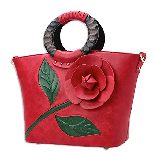 Elegant Flower Kaxidy Shoulder Messenger Body Ladies Handbags Pu Leather Cross Bags Red pROOwq