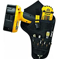 Tool Pocket,TOPSOSO Hanging Tool Bag Multifunctional Tool Stoarge bag Deluxe Cordless Poly Drill Holster (Yellow ribbon) …
