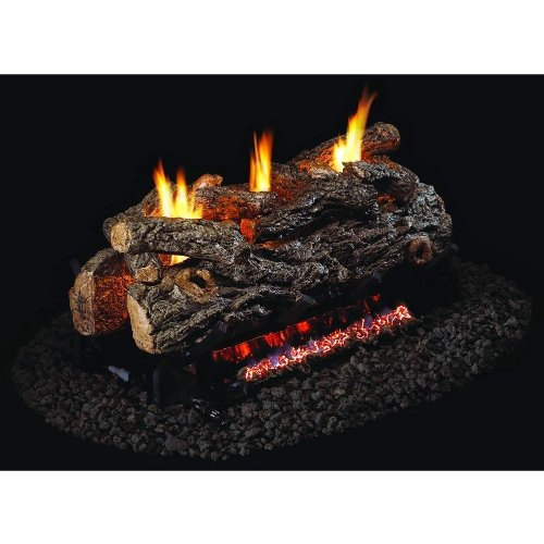 Peterson Real Fyre 24-inch Golden Oak Designer See-thru Log Set With Vent-free Natural Gas Ansi Certified G9 Burner - Basic On/Off Remote