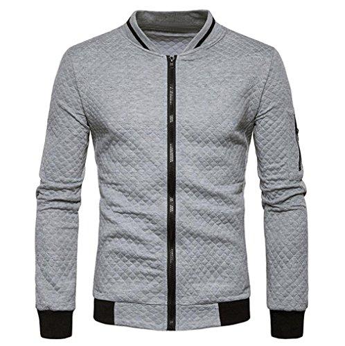 HTHJSCO Tops Jacket Coat, Mens Casual Soft Lightweight Zip up Baseball Collar Bomber Jacket with Diamond Plaid (Gray, ()