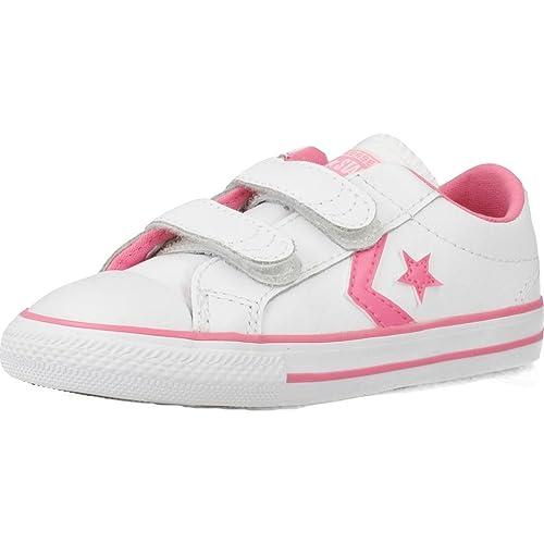 Converse Lifestyle Star Player 2V Ox, Zapatillas de Estar por Casa para Bebés, Multicolor (White/Pink 188), 20 EU