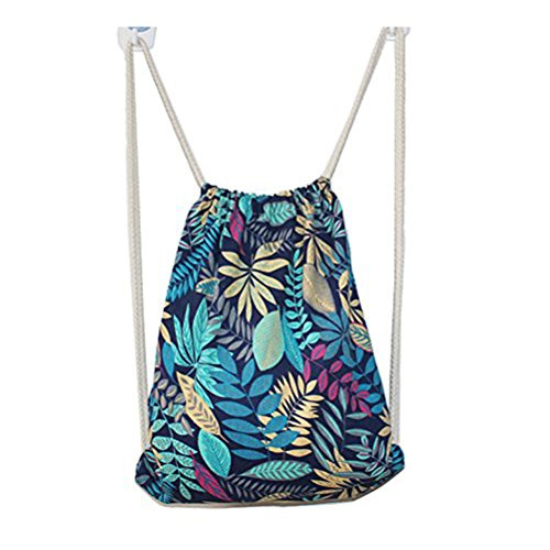 UPC 750810619823, Winbest Outdoor leaves Style Retro vintage Canvas Drawstring Sports Backpack Bag