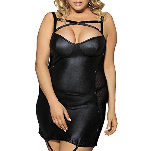 (FJLOVE Women Ladies Babydoll For Sexy Plus Size Wet Look Garter Belt Patent Leather Mini Dress, 2xl)
