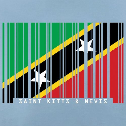 Saint Kitts and Nevis / St. Kitts und Nevis Barcode Flagge - Herren T-Shirt - Himmelblau - L