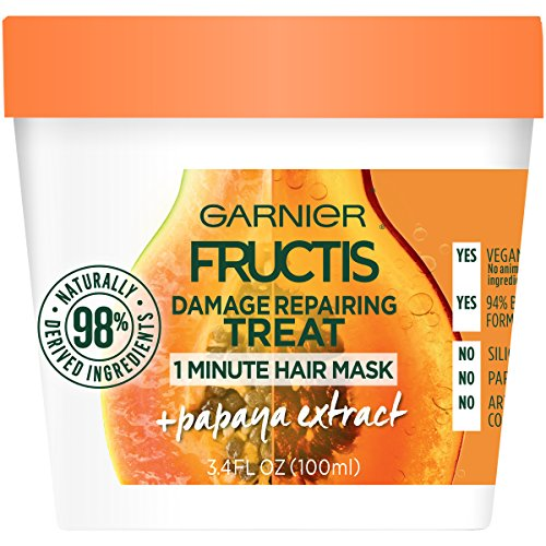 Garnier Fructis Damage Repairing Treat 1 Minute Hair Mask with Papaya Extract for Shine and Scalp Health, 3.4 Ounce