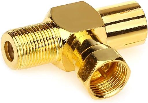T//F Type antenne Distributeur Enti/èrement blind/é Distributeur bidirectionnel pour TV//T Adaptateurs coaxial Raccord Screw 3Female-Gold Moborest coaxial dantenne TV coaxial Coupler
