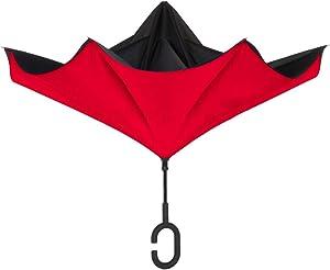 ShedRain UnbelievaBrella Reverse Umbrella: Black and Red