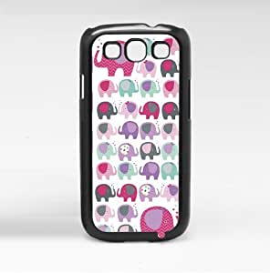 Girly Pink, Purple, and Teal Elephants Pattern Hard Snap on Phone Case (Galaxy s3 III) by lolosakes
