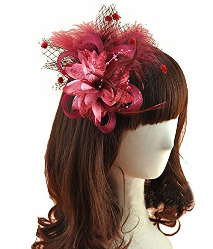 (Coolr Removable Fascinator Hair Clip Feather Wedding Headwear Bridal 1920s Headpiece Women)
