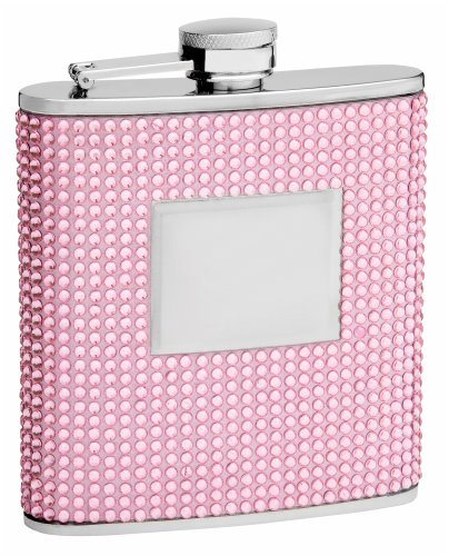 Personalized 6oz Pink Beaded Hip Flask, Free Engraving!