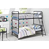 Black Vintage Design Metal Tube Twin Bunk Bed with Slant Ladder