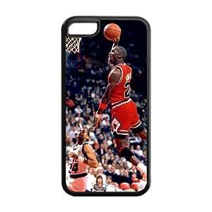 Michael Jordan Chicago Bulls #23 Solid Rubber Customized Cover Case for iPhone 5c 5c-linda770