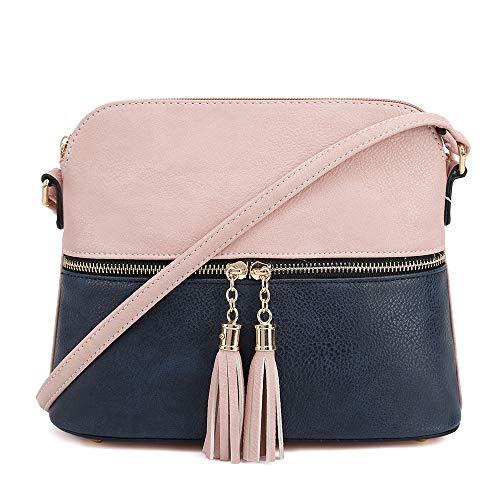 SG SUGU Lightweight Medium Dome Crossbody Bag with Tassel | Zipper Pocket | Adjustable Strap (Blush/Navy)