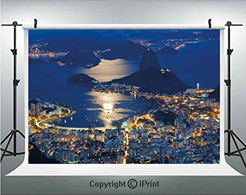 Night Photography Backdrops Aerial View of Mountain Sugar Loaf and Botafogo Rio de Janeiro,Birthday Party Background Customized Microfiber Photo Studio Props,7x5ft,Violet Blue Marigold Light Grey
