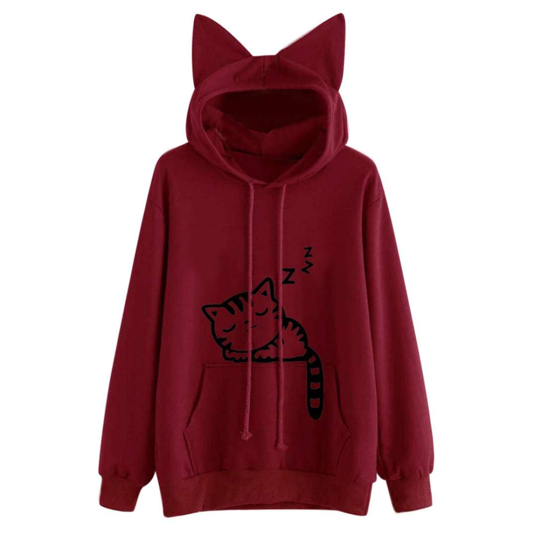 Women Hoodies, Hevoiok Cute Fashion Cartoon Little Cat Print Long Sleeve Sweatshirt Pullover Tops with Pockets