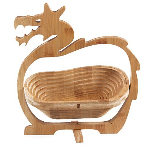 Arsmt Bamboo Natural Fruit Baskets Folding Flat Chinese dragon Collapsible Storage Food Containers for Home or Kitchen (Chinese dragon)