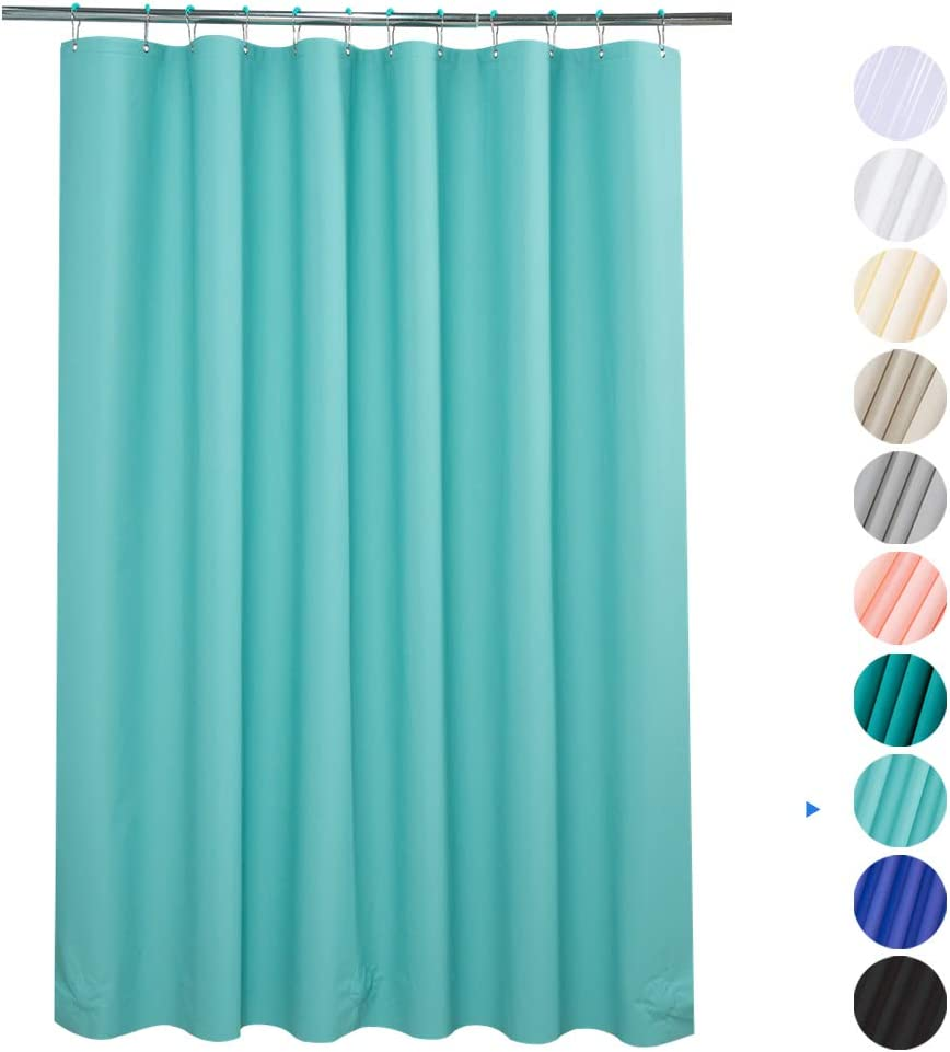 """Plastic Shower Curtain, 72"""" W x 65"""" H EVA 8G Shower Curtain with Heavy Duty Clear Stones and 12 Rust-Resistant Metal Grommet Holes Waterproof Thick Bathroom Curtains Without Chemical Odor-Teal"""