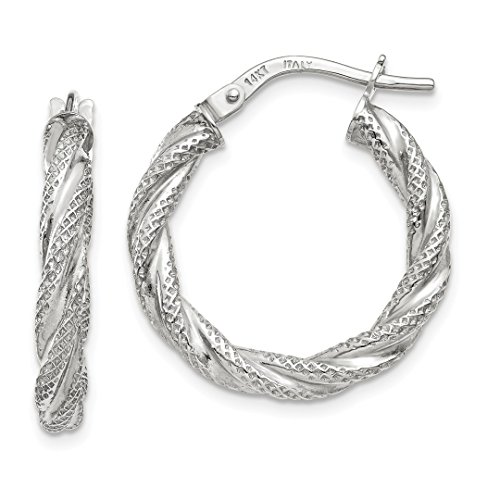 14k White Gold Twisted Textured Hoop Earrings Ear Hoops Set Fine Jewelry For Women Gift Set from ICE CARATS
