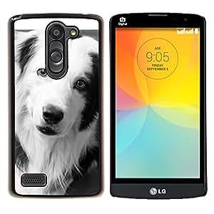 LECELL--Funda protectora / Cubierta / Piel For LG L Bello L Prime -- Border Collie Negro Perro Raza Blanca --